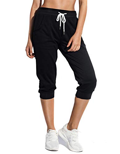 SPECIALMAGIC Women's Sweatpants Cropped Jogger French Terry Running Pants Lounge Loose Fit Drawstring Waist with Side Pockets Black M 1