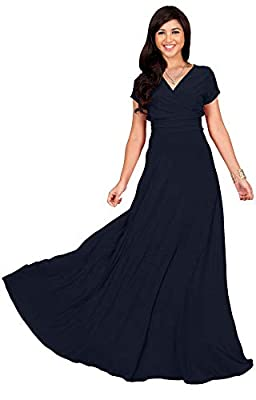 Plus sized short sleeved maxi dresses; plus size gowns with sleeves; larger sizing clothing for the curvy lady; comfortable loose fitting Dark Navy Blue maxi's for ladies; cap sleeve full-figure dress; flattering and slimming cocktail dress Short cap...