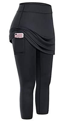 Tummy control waistband that contours your body and shape retention. Skirt/leggings combo design great for staying modest yet feminine at the same time. Functional side pocket for storing mobile phones or small items when you go out. Perfect for yoga...