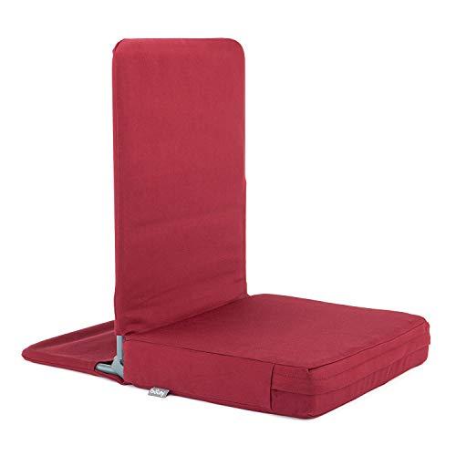 MANDIR Bodenstuhl, klappbar mit gepolsterter Rückenlehne, Meditationsstuhl mit dickem Sitzkissen für Seminar-Häuser, Meditation, bodennahes Arbeiten (Wein-rot)