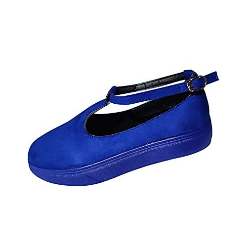 Zapatos con Plataforma 2021 Spring Retro Round Head Mocasines para Mujer Cuñas Sandalias Casual Verano Alpargatas con Punta Cerrada Sandalias Verano Mujer Sandalias Romanas de Mujer