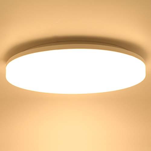 Lamker 24W LED Plafoniera Impermeabile IP44 Tondo Sottile LED Lampada a Soffitto 2160lm 3000K Plafoniere Bianco Caldo 33cm Camera da Letto Bagno Cucina Corridoio Cantina Balcone Soggiorno Ufficio