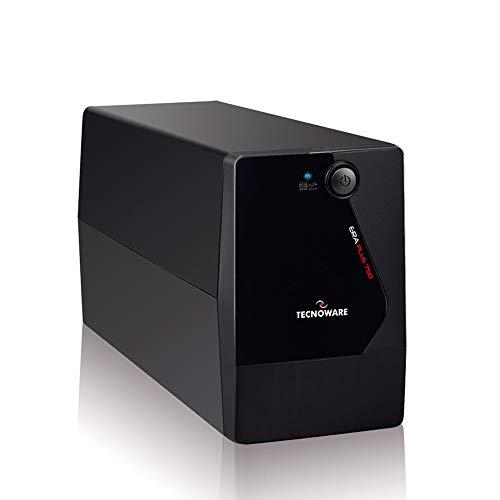 SAI Tecnoware SAI ERA PLUS 750, Potencia 750 VA, Autonomía hasta 10 min con 1 PC o 40 min con Modem Router, estabilización AVR, Negro