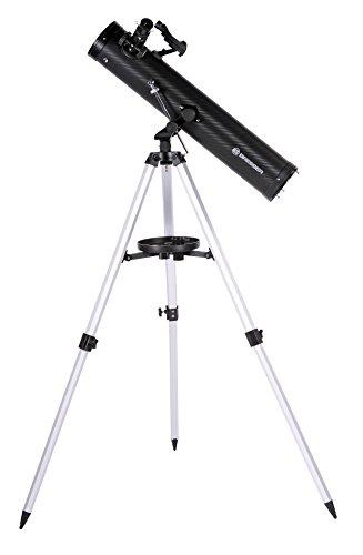 Bresser Spiegelteleskop Venus Azimutal 76/700 mit Smartphone Kamera Adapter für Kinder und Erwachsene zur Beobachtung von Mond, Planeten und vielem mehr inklusive Stativ und Zubehör