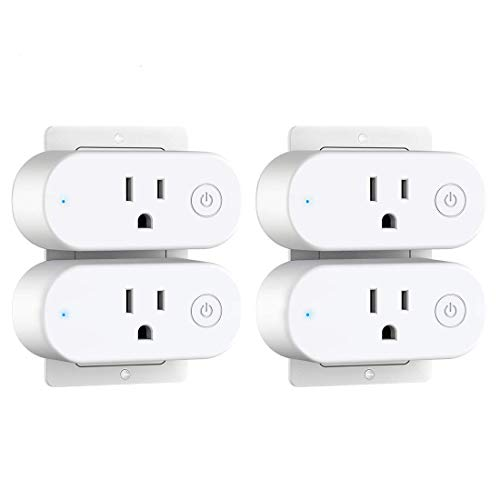 Smart Plug with Energy Monitoring - Aoycocr 15A Wifi Outlet Work with Alexa Google Home IFTTT-4 Pack Mini Socket with Schedule and Timer Function, No Hub Required, Overload Protection, FCC Listed