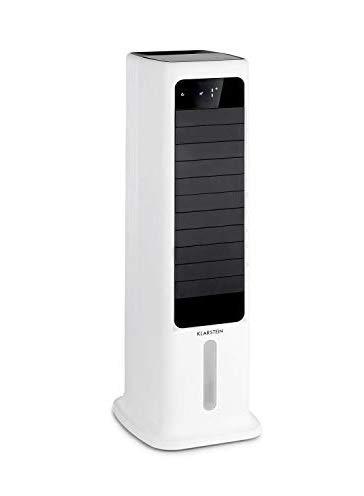 KLARSTEIN Skytower 360° - Rafraîchisseur d'air, Ventilateur, Humidificateur d'air, Pack fraîcheur, 450m³/h, Oscillation horizontale et verticale, Roulettes, Contrôle par appli - Blanc