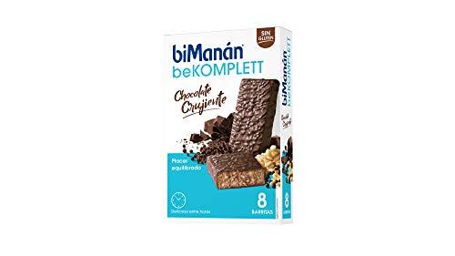 biManán beKOMPLETT Barritas Chocolate Crujiente Ricas en Proteínas y Fibra, Con 12 Vitaminas Y 4 Minerales. Sin Gluten - Caja de 8 Unidades