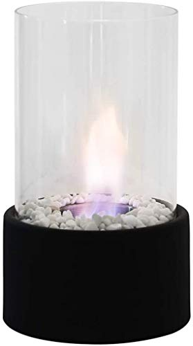 KANGSHENG Tabletop Fireplace Bio Ethanol Fireplace Indoor/Outdoor Portable with Round Stainless Steel Burner Cup