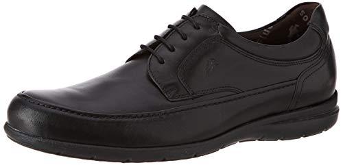 Fluchos   Zapato de Hombre   Luca 8498 Ave Negro   Zapato de Piel   Cierre con Cordones   Piso de Goma