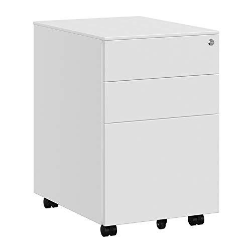 SONGMICS Stahl Rollcontainer mit 3 Schubladen und Hängeregistratur Abschließbarer Büroschrank, Schrankkorpus Vormontiert, 39 x 60 x 52 cm Weiß OFC60WT