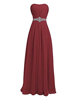 Strapless,padded bra,Rhinestone,Belt, Ruffles,Empire Line,Floor-length beautiful,comfortable and crease-resistant chiffon with lining lace-up corset back it's great for mother of the bride dresses,bridesmaid dresses,prom dresses,women dresses,party d...