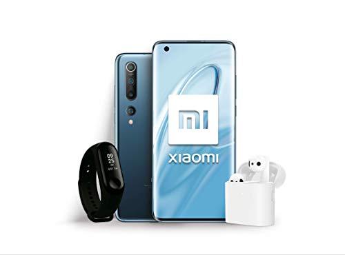"""Xiaomi Mi 10 Pack Lanzamiento (Pantalla FHD+ 6.67"""", 8GB+128GB, Camara de 108MP, Snapdragon 865 5G, 4780mah con Carga 30W, Android 10) Gris + Mi Band 3 + Mi True Wireless Earphone 2 [Versión española]"""