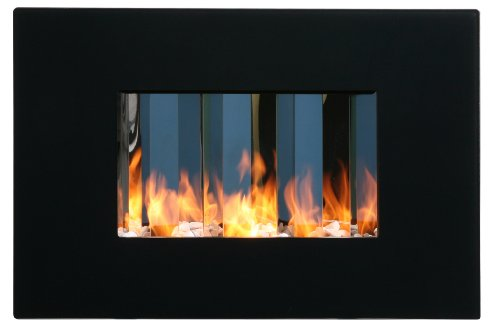 Wall-Mounted Bio-Ethanol Fireplace with Black Glass Frame