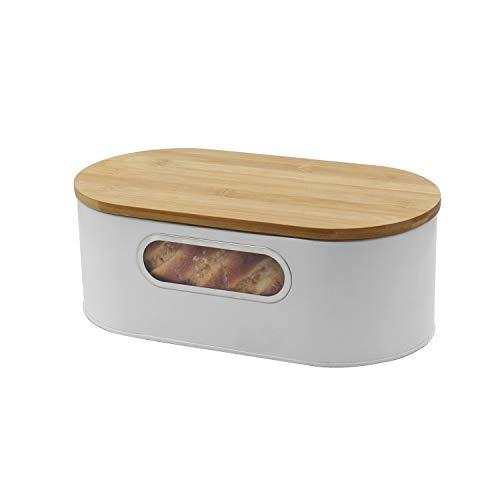 4W Brotkasten Bauernhaus Brotboxen für Küche Arbeitsplatte Weiß Metall Brotaufbewahrungsbehälter Dose Antike Brotbox mit Schneidebrett Aufbewahrung für Brote, Abendessen Brötchen, Gebäck, Vintage Küche