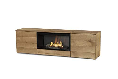 Planika Pure Flame TV Box with Automatic Ethanol Burner: No Mesh - Remote Control - Natural Oak Veneer