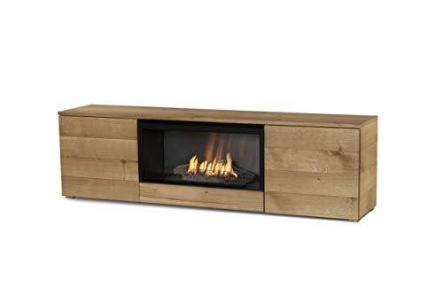 Planika Pure Flame TV Box with Automatic Ethanol Burner: No Mesh - Remote Control - Natural Oak Veneer