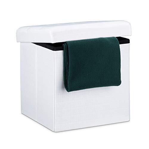 Relaxdays Faltbarer Sitzhocker, Sitzcube als Fußablage, Sitzwürfel aus Leinen, Deckel zum Abnehmen, 38x38x38 cm, weiß
