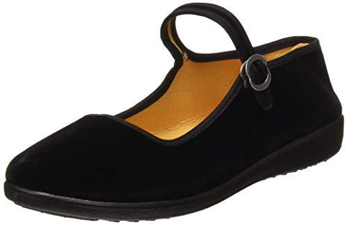 Zapatos Mary Jane de Terciopelo de Las Mujeres Algodón Negro Antigua Pekín Pisos de Tela Ejercicio de Yoga Zapatos de Baile (EU 38)