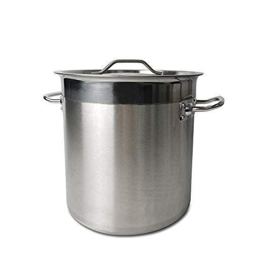 TAIMIKO - Pentolone in acciaio INOX con coperchio, fondo composito a 3 strati, pentola profonda per zuppa e stufato, 17-115 L 50Litre 40cm,With Lid