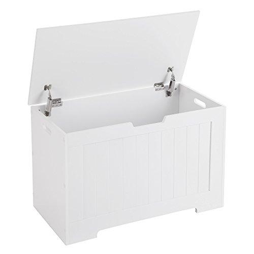 VASAGLE Spielzeugkiste Truhe Bank Stauraum Sitztruhe Sitzbank Aufbewahrungstruhe mit großer Kapazität weiß , Holz, 76 x 48 x 40 cm (B x H x T) LHS11WT