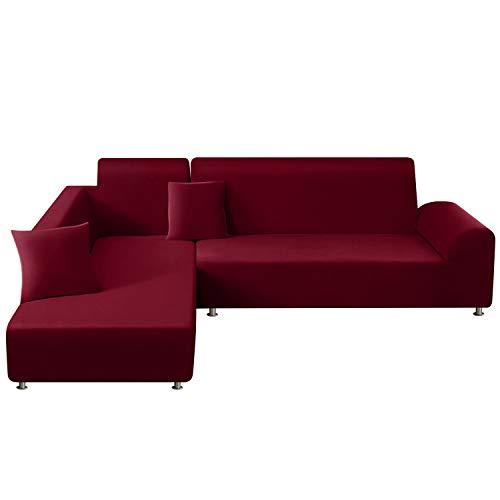 TAOCOCO Copridivano con Penisola Elasticizzato Chaise Longue Sofa Cover Componibile in Poliestere a Forma di L(Rosso, 3 Posti+4 Posti)