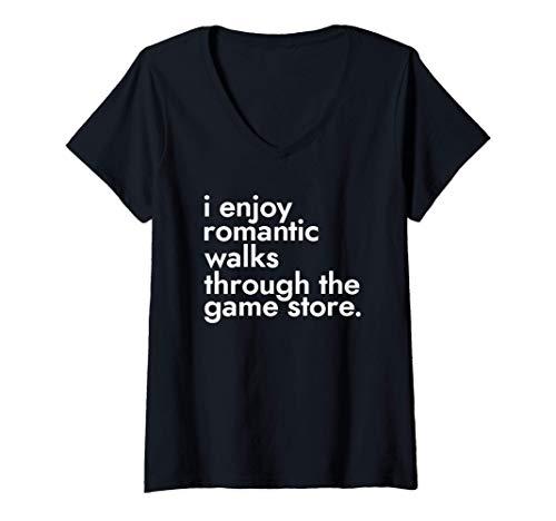 Womens I Enjoy Romantic Walks Through The Game Store - Gamers V-Neck T-Shirt
