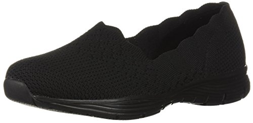 Skechers Seager-Stat, Zapatillas sin Cordones Mujer, Negro (BBK Black Flat Knit), 38 EU