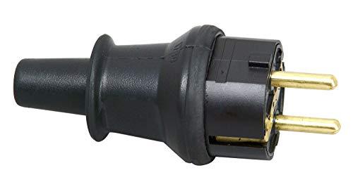 Kopp 173016008 Schutzkontakt-Stecker mit Knickschutztülle, IP44 Schutzklasse, spritzwassergeschützt, 250V (16A), Schutzkontakt Stecker aus SEBS, bruchfest, schwarz