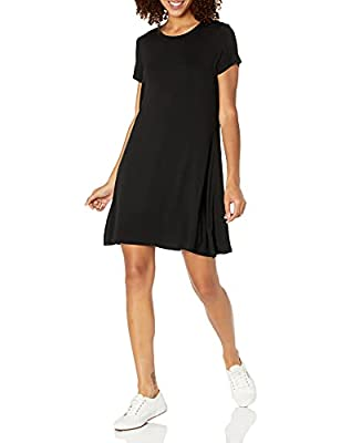 This versatile short-sleeve swing dress features a scoop-neckline and a feminine drape for easy, everyday styling This flirty swing dress flares into a flattering a-line cut from the chest Made with jersey that beautifully drapes Everyday made better...