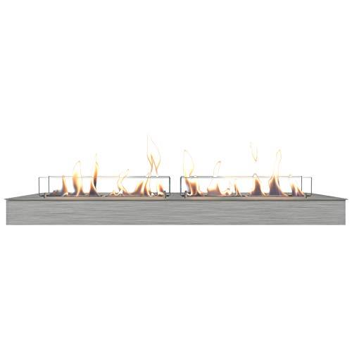 Xaralyn - Bioethanol burner XXL (11814LS) bio-ethanol fireplace with silver lip - no chimney required.