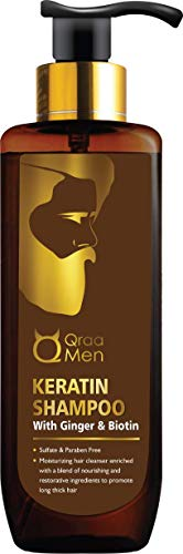 Qraa Men Keratin Shampoo with Ginger and Biotin for Nourished and Thick Hair - Sulfate and Paraben Free, 200 ml