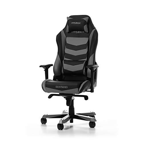 DXRacer (l'original) Iron I166 Chaise de Bureau, Similicuir, Noir & Gris, 160-195 cm