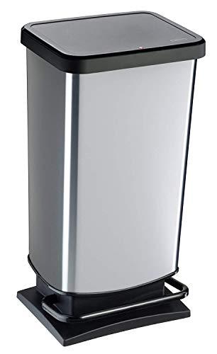 Rotho Paso Mülleimer 40l mit Pedal und Deckel, Kunststoff (PP) BPA-frei, silber metallic, 40l (35,3 x 29,5 x 67,6 cm)