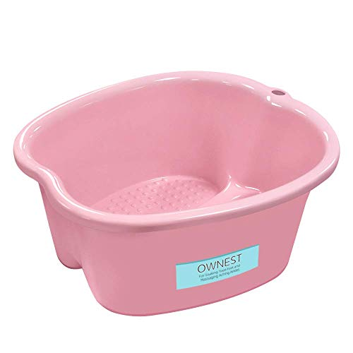 Ownest Foot Bath Spa,Water Spa and Foot Massage, Sturdy Plastic Foot Basin for Soaking Foot,Toe Nails, and Ankles,Pedicure,Portable Foot Tub-Pink
