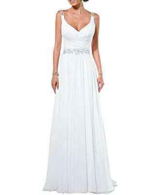 Built-in bra,no stretch,Dry clean only,High quality 100% chiffon material V-neck Sleeveless Long Chiffon Wedding Gown you any have problems About size. Please feel free to contact us before placing the order.We Can be made it according to your measur...