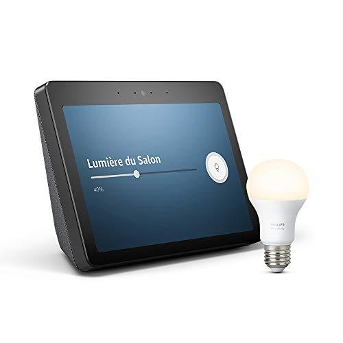 """Echo Show (2ème génération) - Son de qualité premium et écran HD 10"""" éclatant, Noir + Ampoule connectée Philips Hue"""