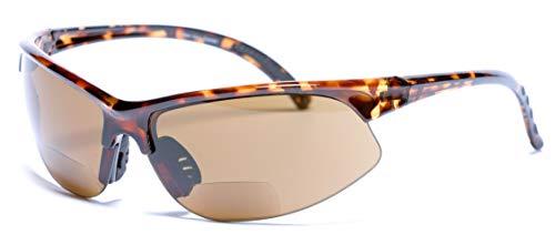 'The Illustrious' Polarized Bifocal Sport Wrap Sunglasses (Tortoise, 2.5)