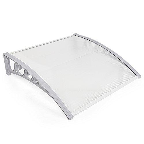 Marquesina para Puerta de Entrada, plástico, Aluminio, marquesina en Arco de Escritorio, marquesina, Transparente, toldos para Ventanas (60x100cm)