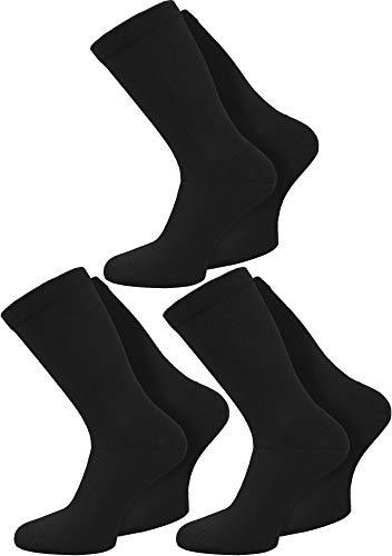 Circle Five 6 Paar Gesundheitssocken extra breiter Komfortbund für Problemfüße Farbe Schwarz Größe 43/46