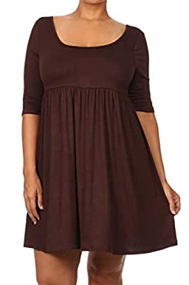 Solid jersey knit tunic top with scoop neckline, elastic waist, and 3/4 sleeves Our products comfort, perfect for casual wear for any occasion. Choose from our diverse options and see which one fits your style the best! Our products which are great i...
