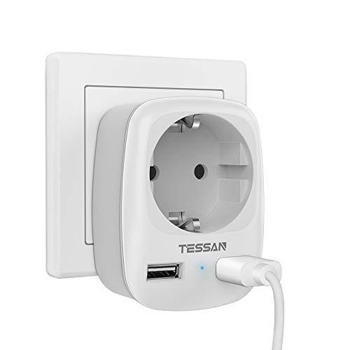 TESSAN USB Steckdose, Steckdose (4000W) mit 2 USB Anschluss (2.4A), Steckdosenadapter USB Adapter Steckdose Schuko Verteiler Zwischenstecker Wand mit Kindersicherung,Stecker mit USB Mehrfachstecker