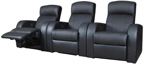 Coaster 600001 Cyrus Theater Seating in Black Top Grain Leather