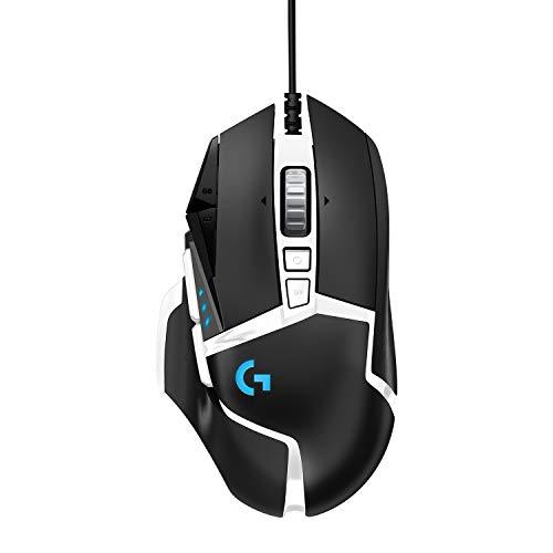 Logitech G502 HERO Ratón Gaming Edición Especial con Cable Alto Rendimiento, Captor HERO 25K, 25,600 DPI, RGB, Peso Personalizable, 11 Botones Programables, PC/Mac - Blanco y Negro
