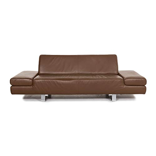 Willi Schillig leather sofa brown three-seater couch