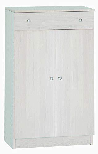Esidra Armadio Basso Multiuso 2 Ante + cassetto, Legno Chiaro, 62 x 34 x 105 cm