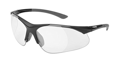 Elvex RX-500C 2.0 Diopter Full Lens Magnifier Safety Glasses, Black Frame /Clear Lens