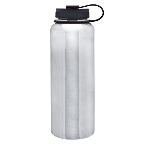 Water Bottle Insulated Stainless Steel by Lazer Designs - Double Wall Thermal Bottle with Threaded Insulated Lid and Retaining Loop - Store Hot And Cold Drinks & Beverages 40oz