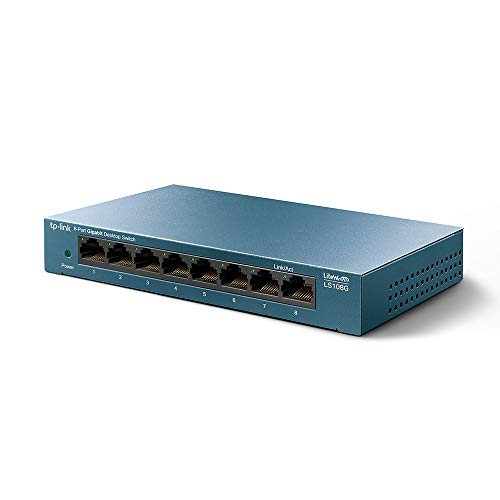 TP-Link Switch 8 Puertos 10/100/1000 (LS108G) Switch ethernet, Switch gigabit, Indicador del estado, chasis metálico ultraligero con Super disipación de calor, QoS