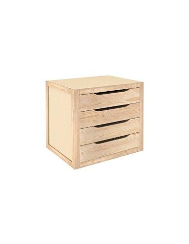 Astigarraga 4Caj-Blna40- Cassettiera in legno massiccio di pino naturale