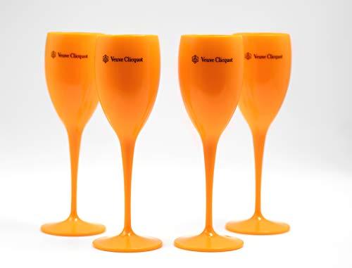 Veuve Clicquot - Set di 4 Bicchieri da Champagne in Acrilico, Colore: Rosa Orange